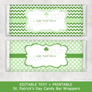 Green Shamrock St Patrick's Day Chocolate Bar Wrappers Template