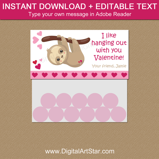 Instant Download Valentine Sloth Favor Bag Topper Template