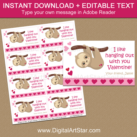Instant Download Valentine Sloth Cards for School Party