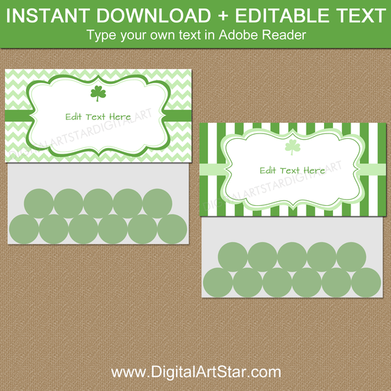 Printable St Patrick's Day Treat Bag Topper Template