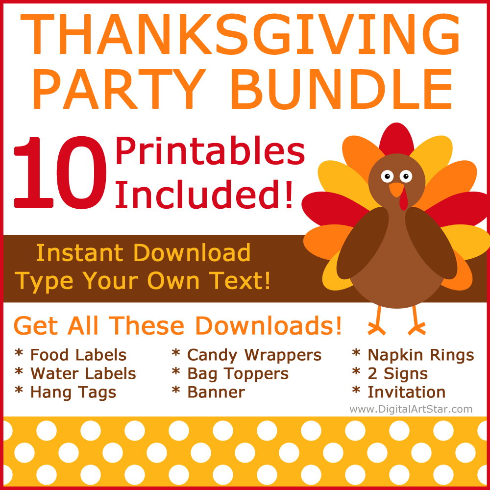 Printable Thanksgiving Party Bundle with Party Supplies