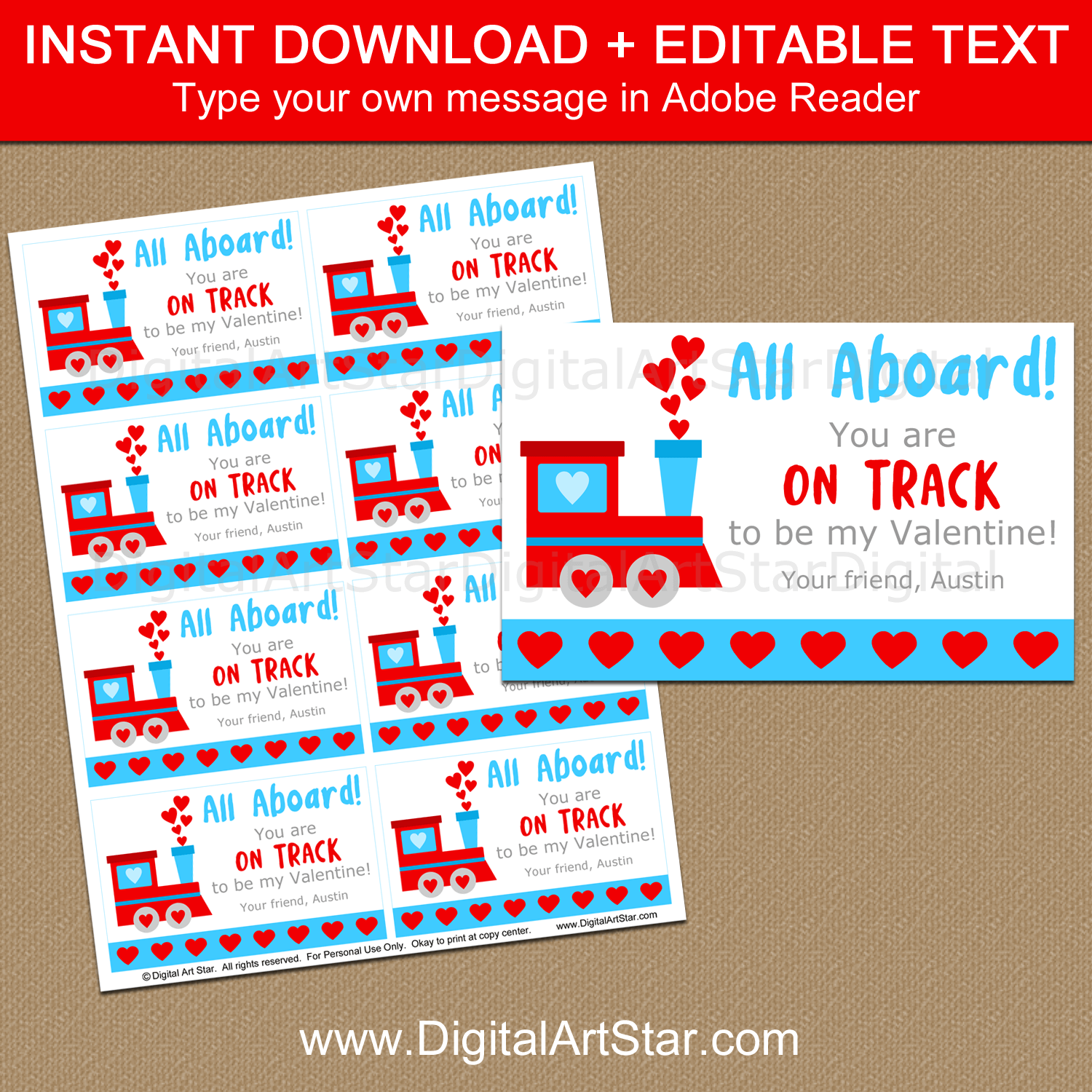 Instant Download Train Valentines Day Cards Template