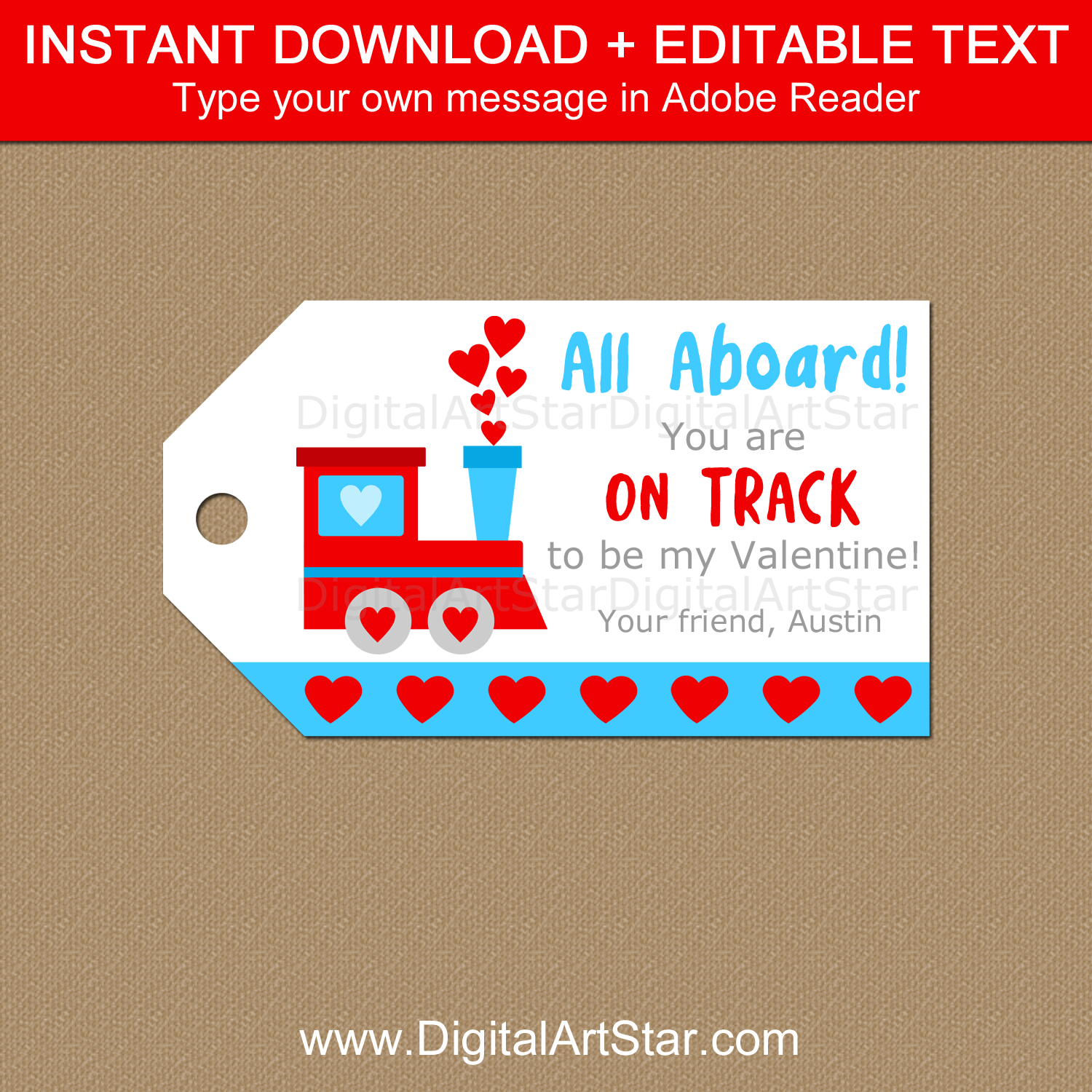 Printable Train Valentine Gift Tag Template