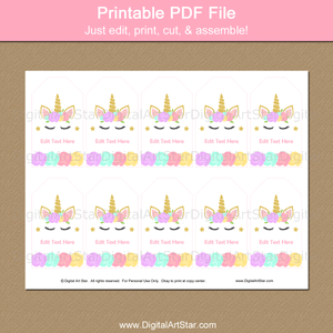 Printable Unicorn Party Favor Tags Template