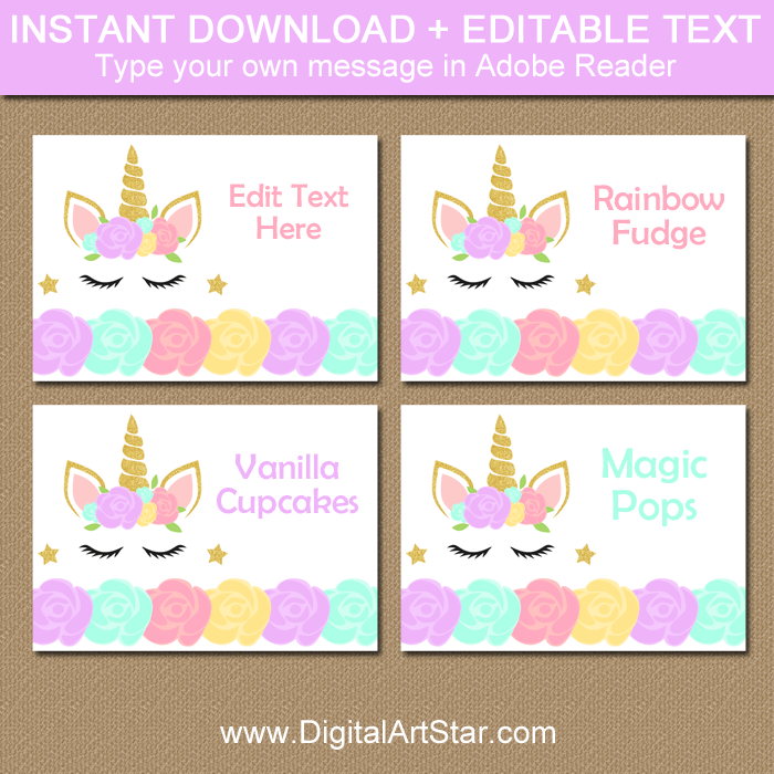 photograph relating to Printable Unicorn identified as Printable Unicorn Destination Playing cards and Meals Tents