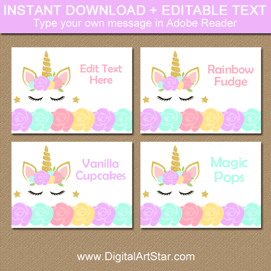 Printable Unicorn Place Cards and Food Tents