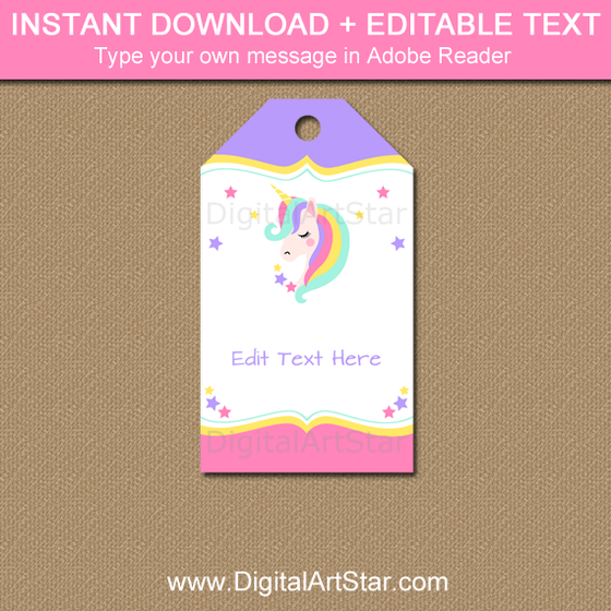 Unicorn Thank You Tags with Editable Text