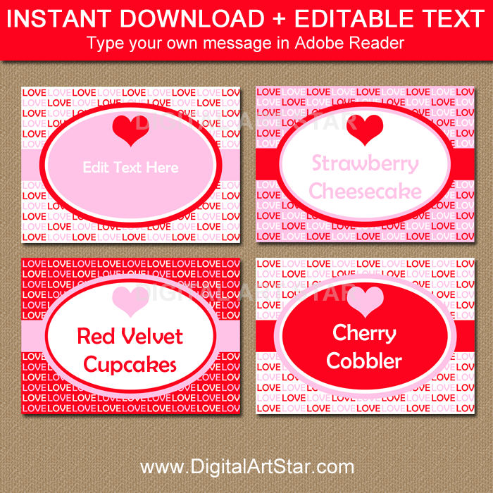 diy red pink painted tent cards foldable party decor INSTANT DOWNLOAD customizable place cards Watercolor printable food tent card label