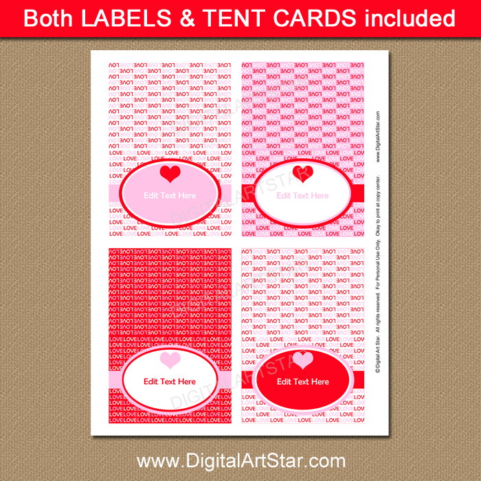 photo relating to Printable Tent Cards referred to as Printable Valentine Labels, Tent Playing cards, Room Playing cards, Food items Tents inside Purple and Purple