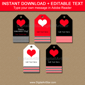 Black and Red Hang Tags for Valentine's Day