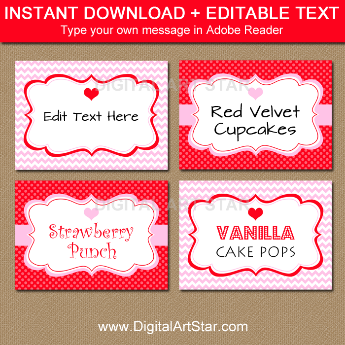 Printable Valentine's Day Food Labels in Pink and Red