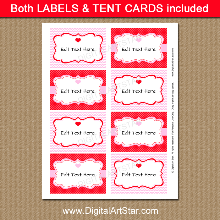 graphic relating to Valentine Labels Printable known as Printable Valentines Working day Meals Labels in just Crimson and Crimson