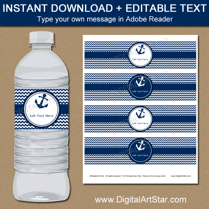Printable Water Bottle Labels for Nautical Birthday
