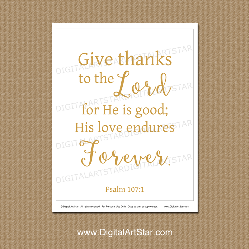 Give Thanks to the Lord for He is Good Printable Sign