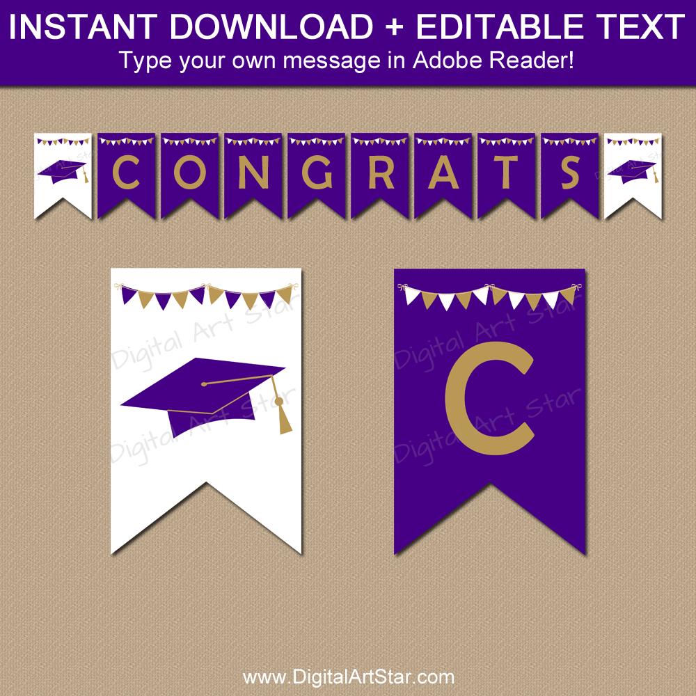 Purple Gold White Graduation Banner Editable Template