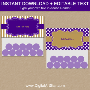 Purple White and Gold Party Favor Bag Toppers to Download