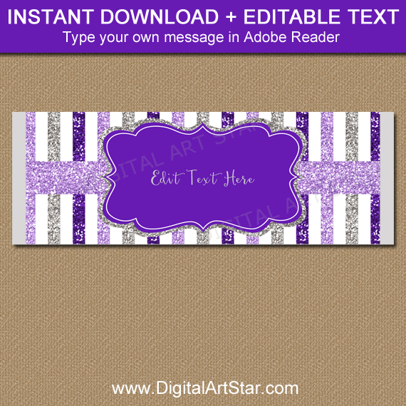 Purple Lavender Silver Glitter Candy Wrappers