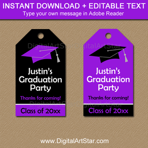 Purple and Black Graduation Party Favor Tags