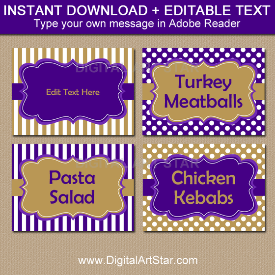 Purple and Gold Food Label Template