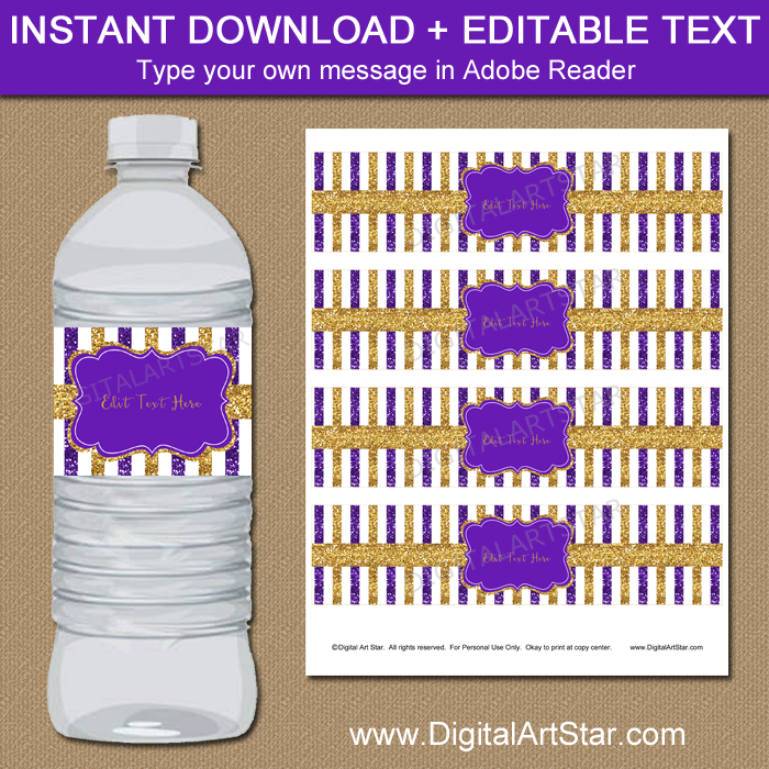 Purple and Gold Glitter Water Bottle Labels