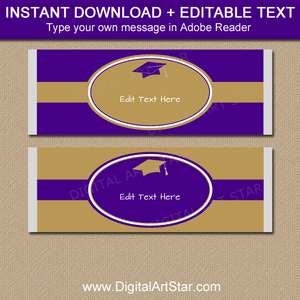 Purple and Gold Graduation Candy Bar Wrappers Template
