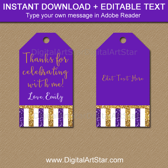 Purple and Gold Thank You Tags for Baby Shower, Wedding, Birthday