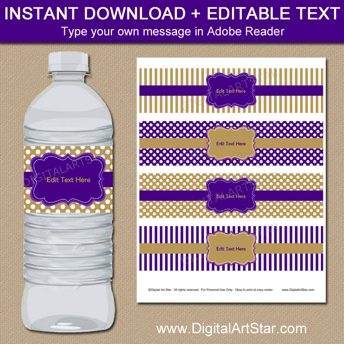 Instant Download Purple and Gold Water Bottle Labels