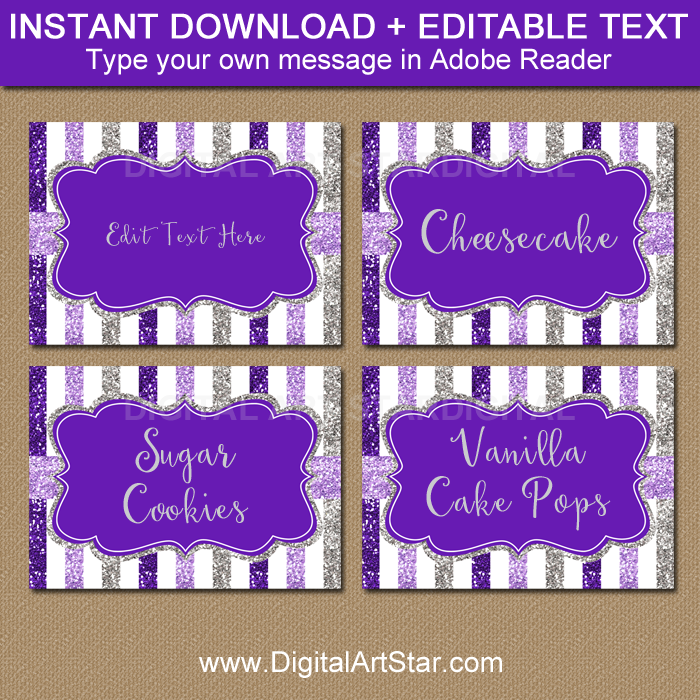 Purple and Silver Wedding Labels