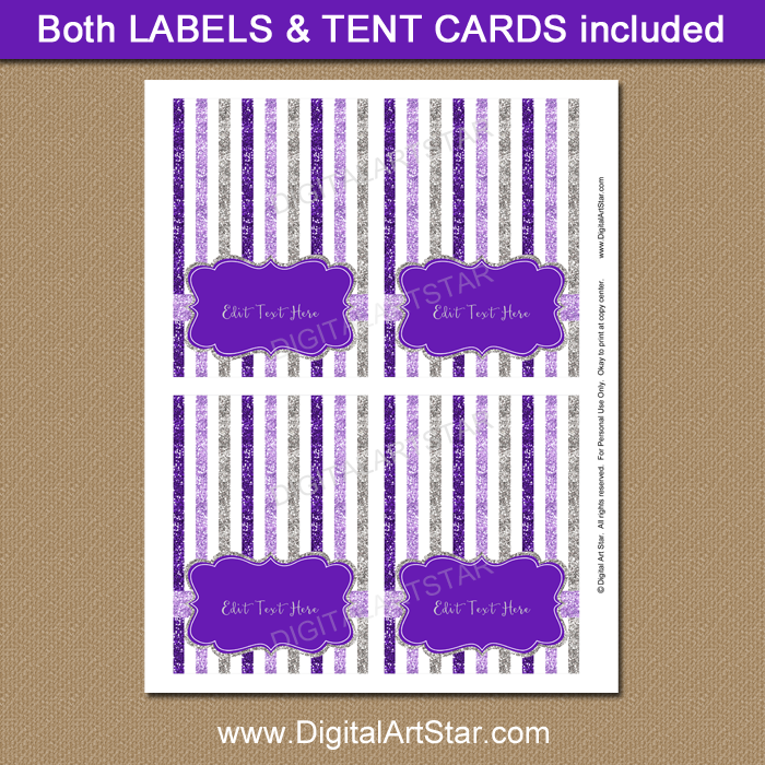 Purple and Silver Place Cards Template
