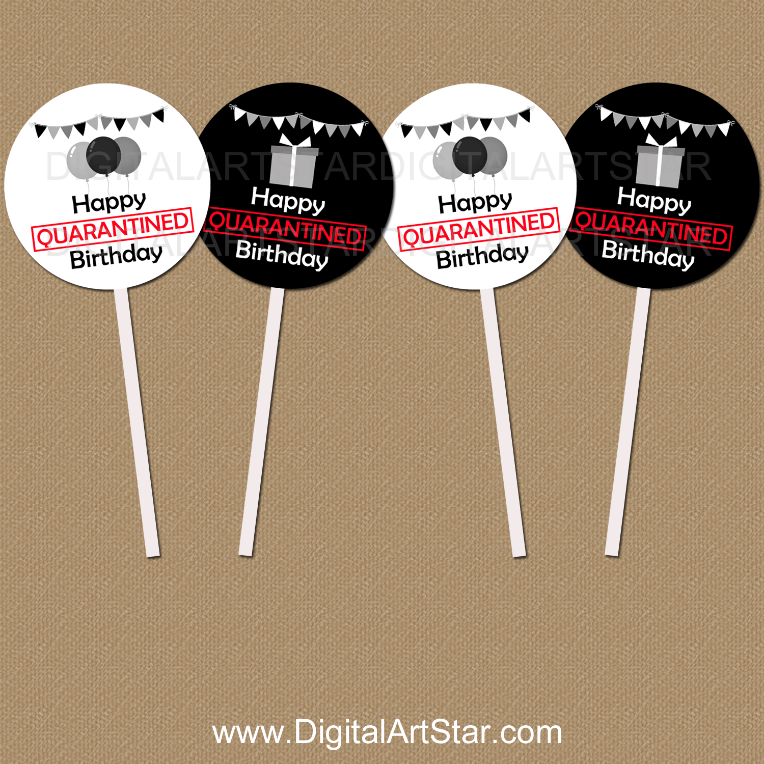 Quarantine Birthday Cupcake Toppers Black and White