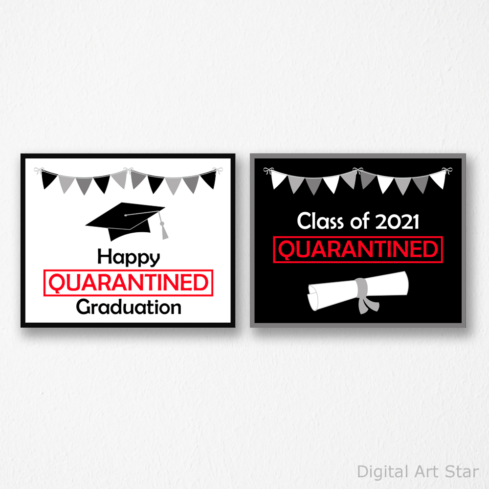 Quarantine Graduation Signs - Set of 2 Prints Wall Art