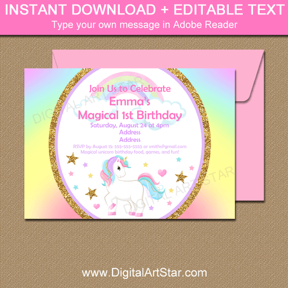 Rainbow Unicorn Birthday Party Invitation Template