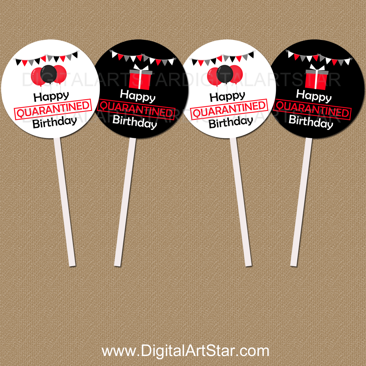 Red Black and White Quarantine Birthday Cupcake Toppers