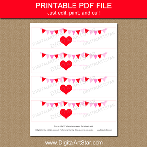 Red Heart Valentine Water Bottle Printable Labels