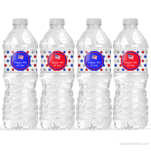 Red White and Blue 4th of July Water Bottle Decor with Stars