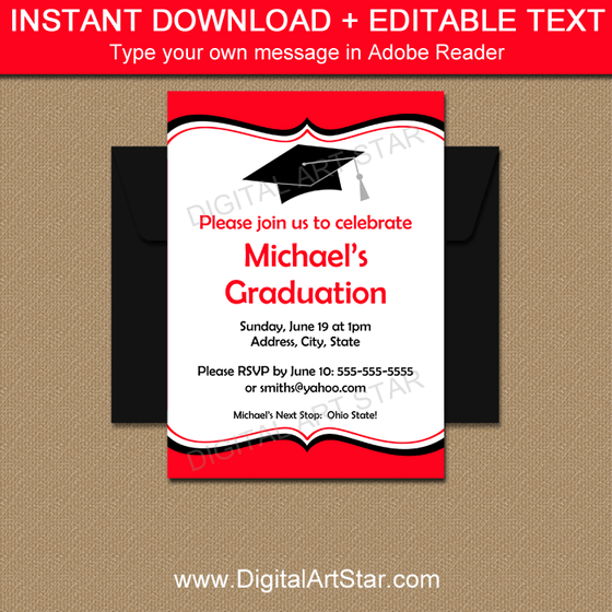 Red Black White Graduation Invitations Template