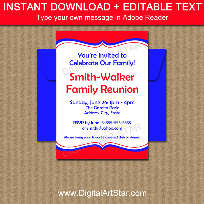 Red family reunion invitation template digital art star red family reunion invitation editable template stopboris Images