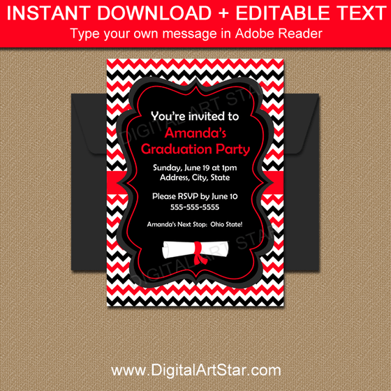 Red and Black Chevron Graduation Invitation Template