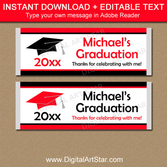 Red and Black Graduation Candy Bar Wrappers