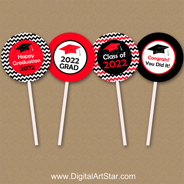 Red and Black Graduation Cupcake Picks Instant Download