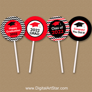 Red and Black Graduation Cupcake Picks Instant Download for Class of 2021