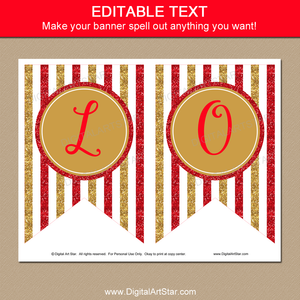 Red and Gold Banner Printable