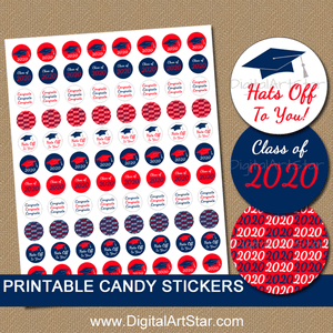 Red and Navy Graduation Candy Stickers Printable