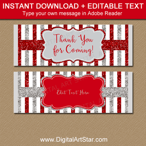 Red and Silver Glitter Candy Bar Wrappers for Favors