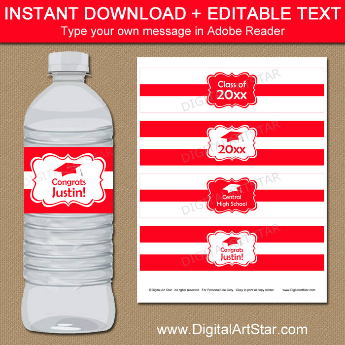 Red and White Graduation Bottle Label Template