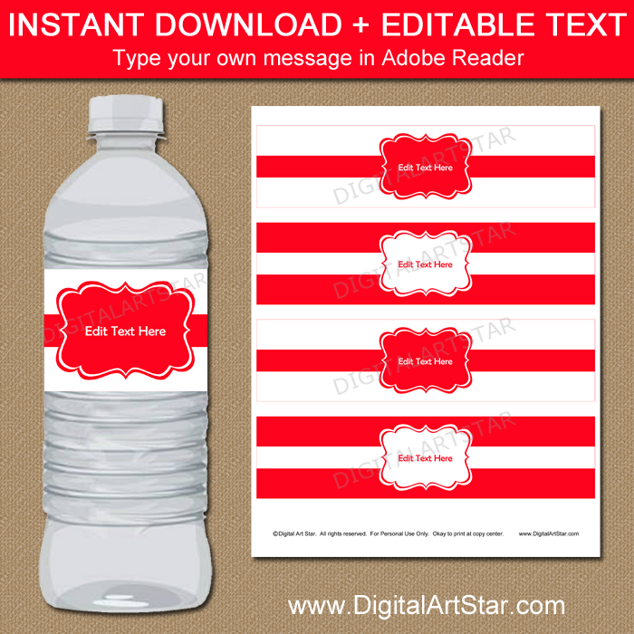 Instant Download Red Water Bottle Labels