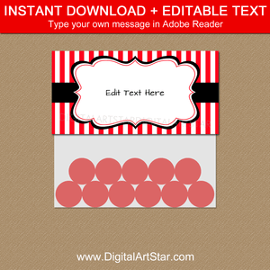 Red and White Striped Treat Bag Toppers Template
