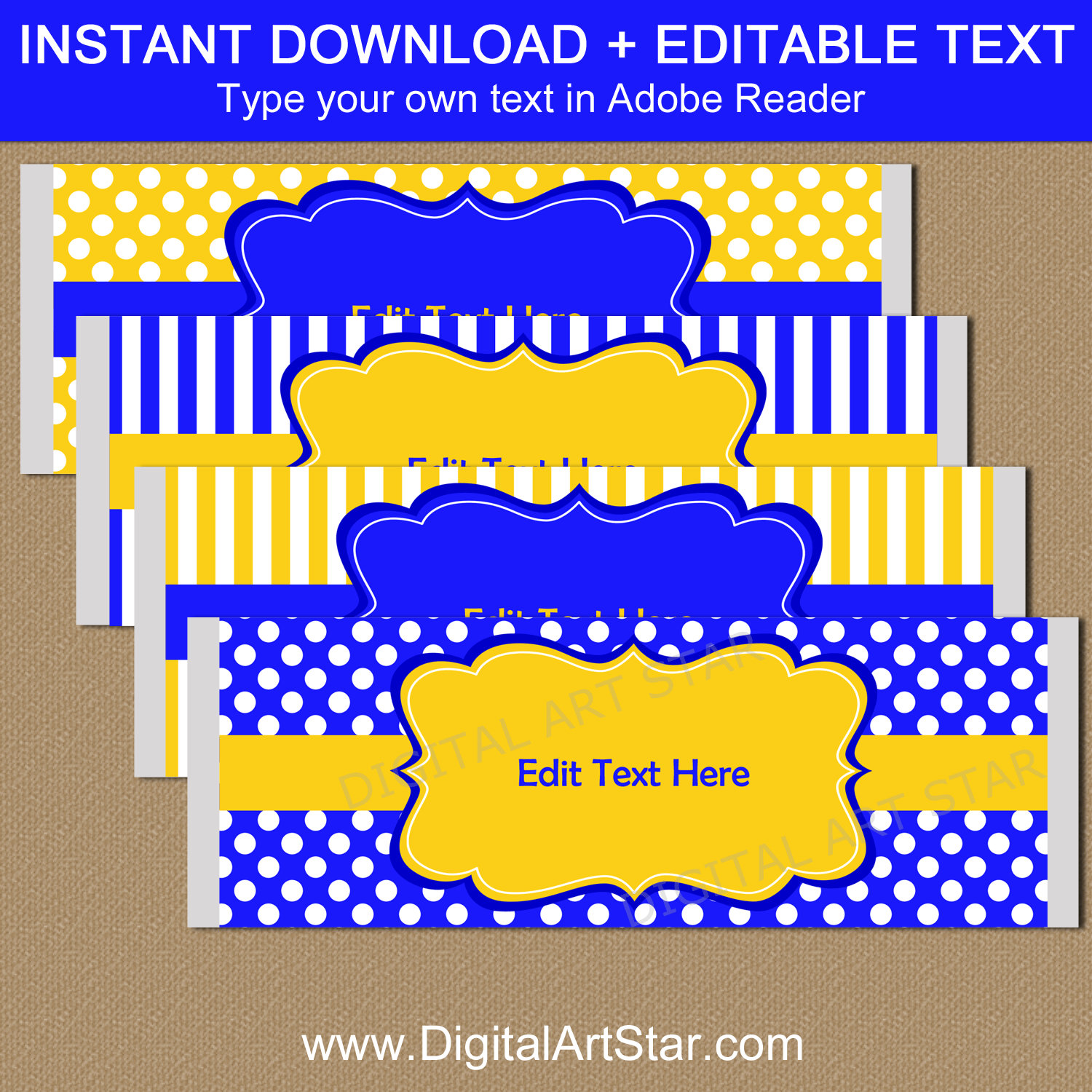Royal Blue and Yellow Candy Wrappers Editable Template