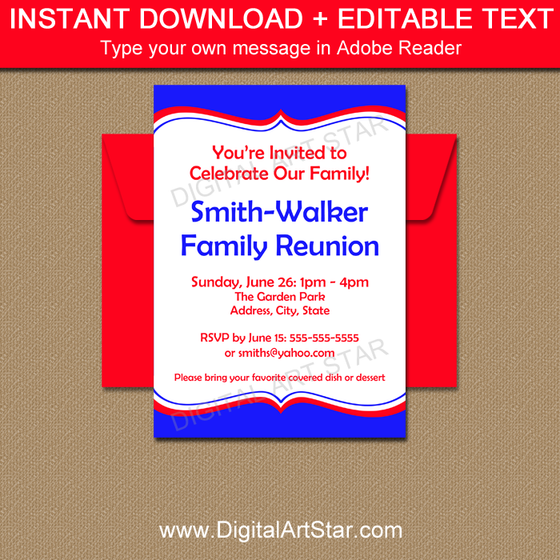 Royal Blue Family Reunion Invitation with Editable Text