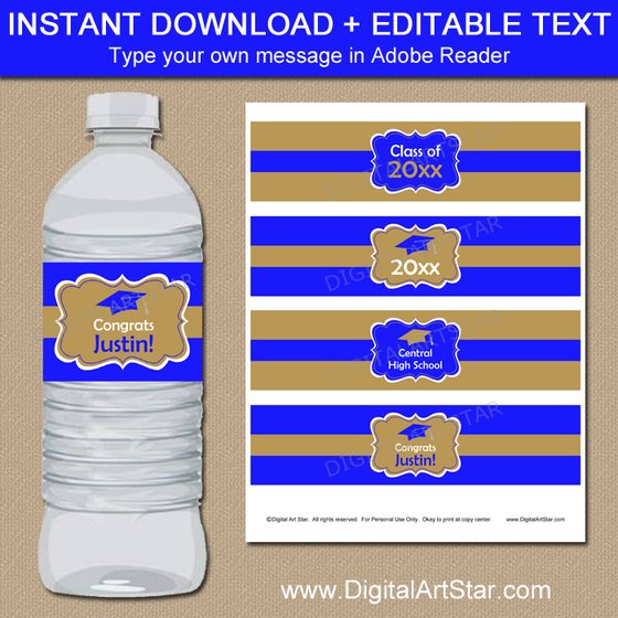 Royal Blue and Gold Graduation Water Bottle Labels